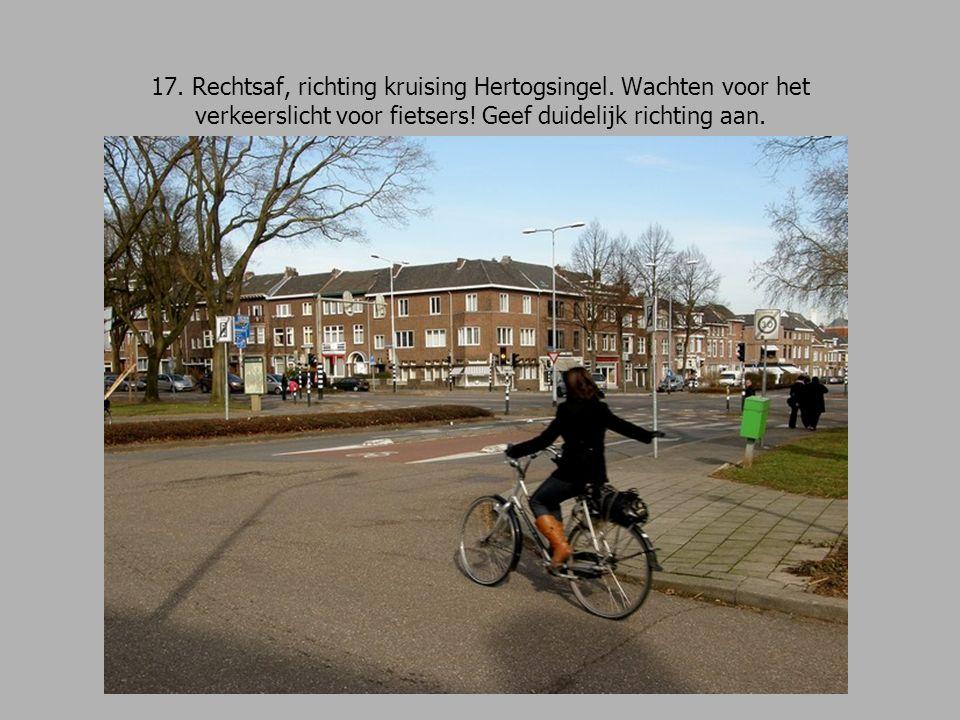 17. Rechtsaf, richting kruising Hertogsingel. Wachten voor het verkeerslicht voor fietsers.