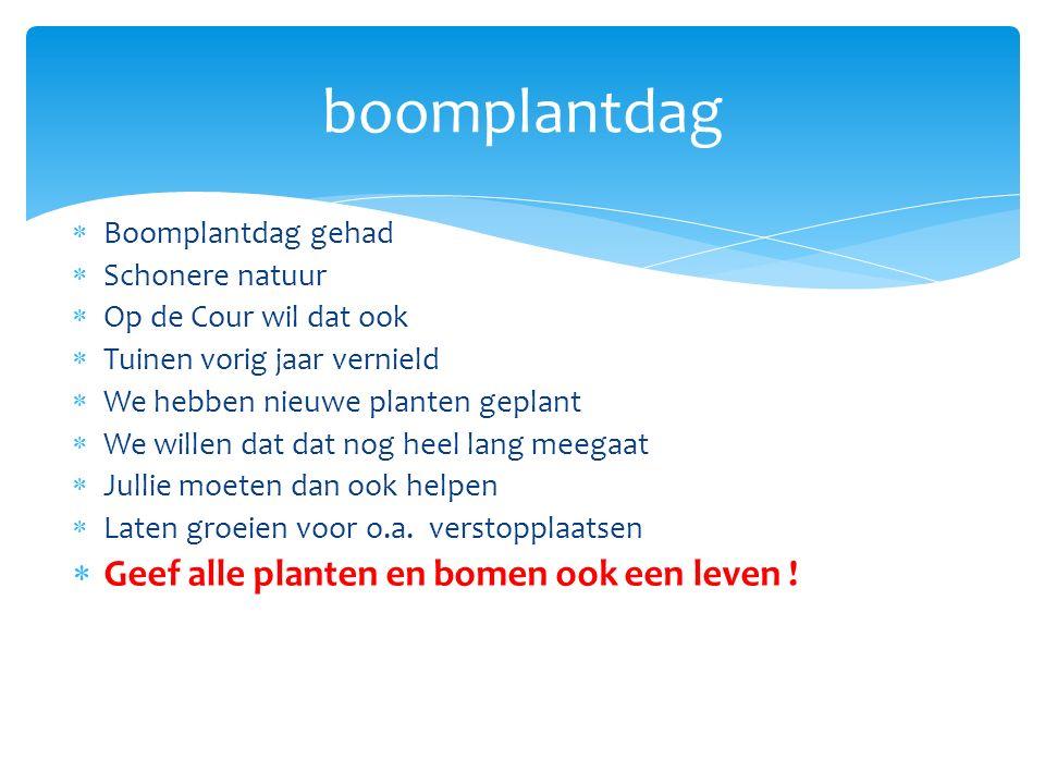  Boomplantdag gehad  Schonere natuur  Op de Cour wil dat ook  Tuinen vorig jaar vernield  We hebben nieuwe planten geplant  We willen dat dat nog heel lang meegaat  Jullie moeten dan ook helpen  Laten groeien voor o.a.