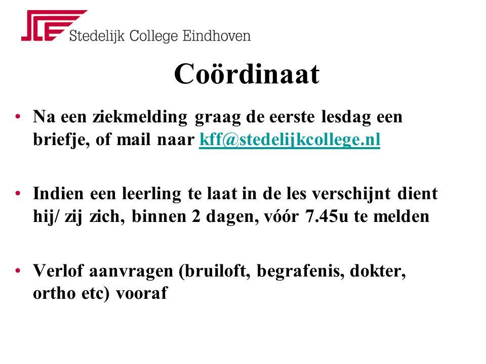 Coördinaat Na een ziekmelding graag de eerste lesdag een briefje, of mail naar kff@stedelijkcollege.nlkff@stedelijkcollege.nl Indien een leerling te l