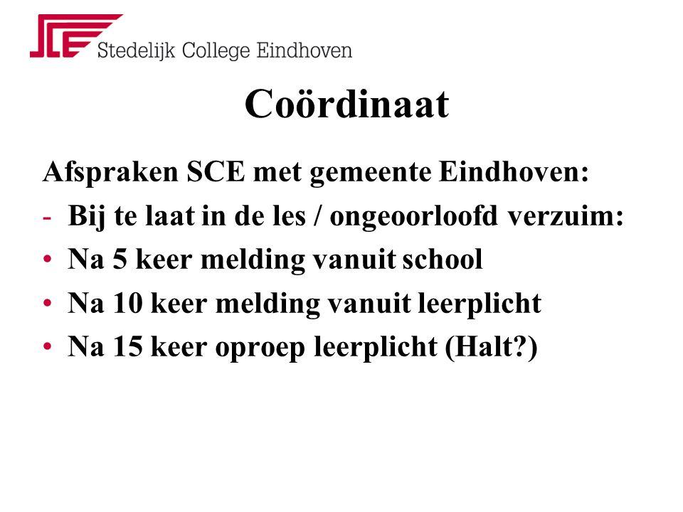 Coördinaat Afspraken SCE met gemeente Eindhoven: -Bij te laat in de les / ongeoorloofd verzuim: Na 5 keer melding vanuit school Na 10 keer melding van
