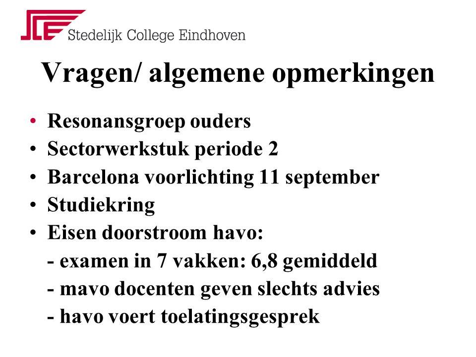 Vragen/ algemene opmerkingen Resonansgroep ouders Sectorwerkstuk periode 2 Barcelona voorlichting 11 september Studiekring Eisen doorstroom havo: - ex