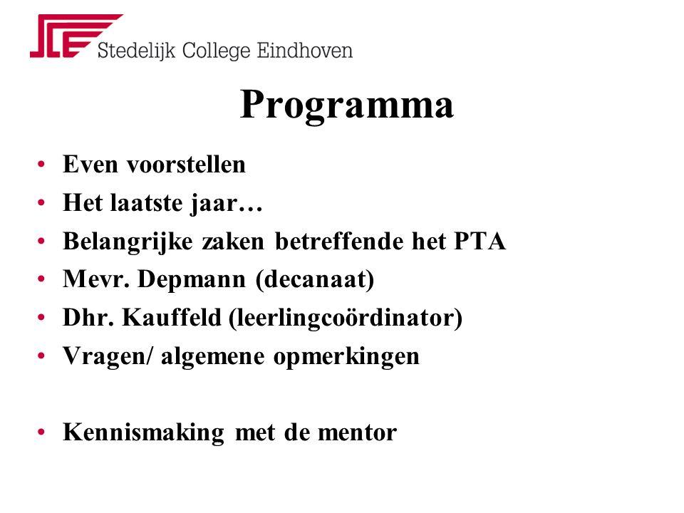 Programma Even voorstellen Het laatste jaar… Belangrijke zaken betreffende het PTA Mevr. Depmann (decanaat) Dhr. Kauffeld (leerlingcoördinator) Vragen