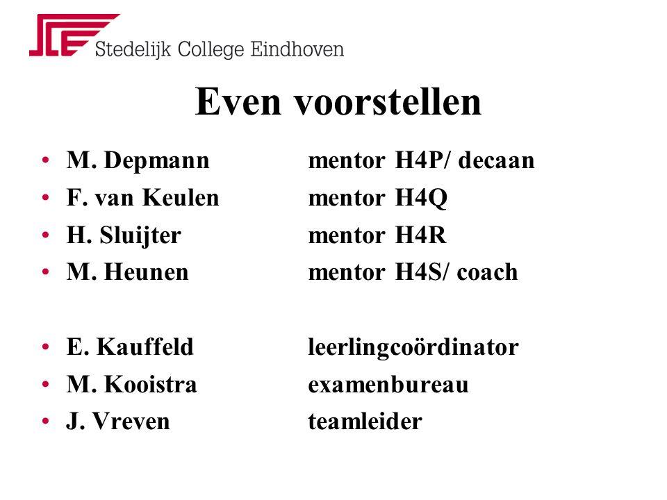 Even voorstellen M. Depmannmentor H4P/ decaan F. van Keulenmentor H4Q H. Sluijtermentor H4R M. Heunenmentor H4S/ coach E. Kauffeldleerlingcoördinator