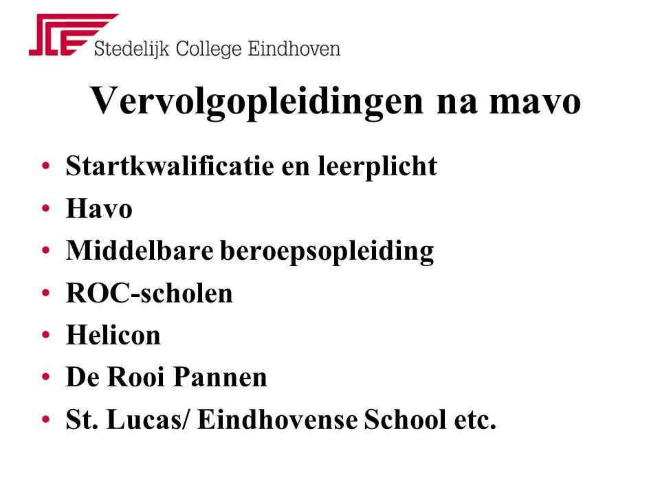 Vervolgopleidingen na mavo Startkwalificatie en leerplicht Havo Middelbare beroepsopleiding ROC-scholen Helicon De Rooi Pannen St. Lucas/ Eindhovense