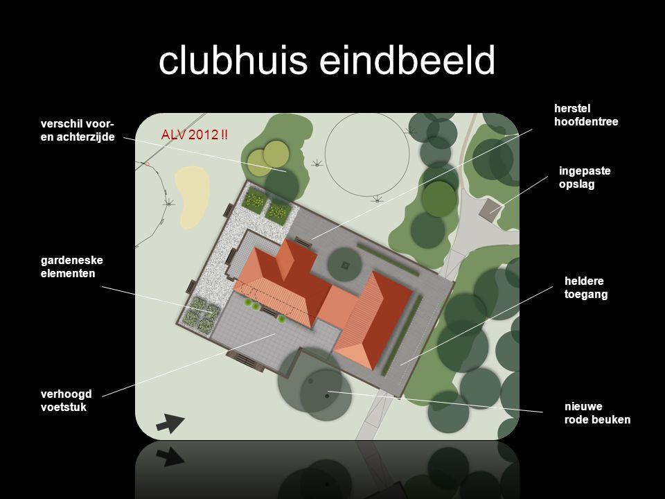 clubhuis eindbeeld verhoogd voetstuk gardeneske elementen verschil voor- en achterzijde herstel hoofdentree ingepaste opslag heldere toegang nieuwe rode beuken ALV 2012 !!