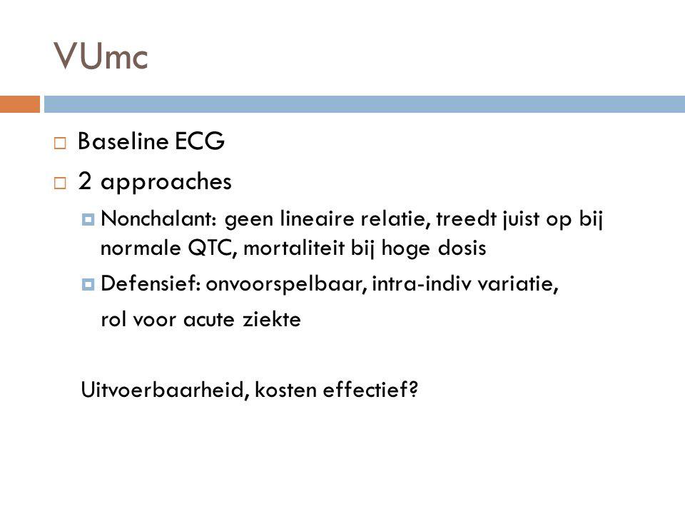 VUmc  Baseline ECG  2 approaches  Nonchalant: geen lineaire relatie, treedt juist op bij normale QTC, mortaliteit bij hoge dosis  Defensief: onvoorspelbaar, intra-indiv variatie, rol voor acute ziekte Uitvoerbaarheid, kosten effectief