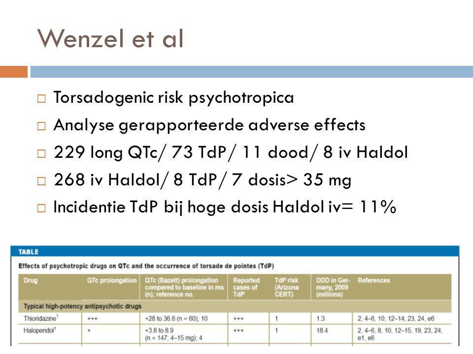 Psychosomatics artikel 2 Review  Haloperidol 15 mg per os  toename QTc 4.7-7.1ms  Haloperidol 7.5 mg im  toename QTc tot 8 ms  Haloperidol iv  groter risico  Link QTc en TdP niet lineair; complexe relatie