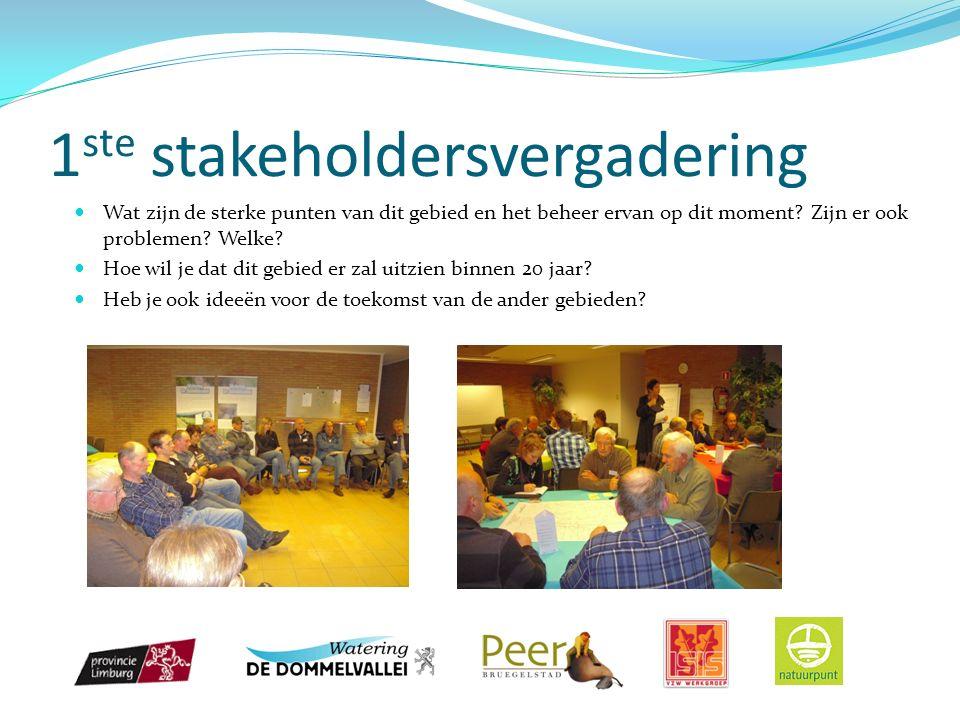 1 ste stakeholdersvergadering Wat zijn de sterke punten van dit gebied en het beheer ervan op dit moment.