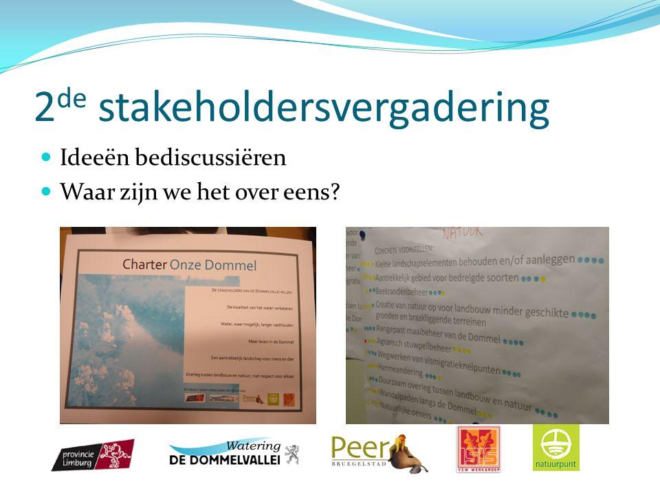 2 de stakeholdersvergadering Ideeën bediscussiëren Waar zijn we het over eens