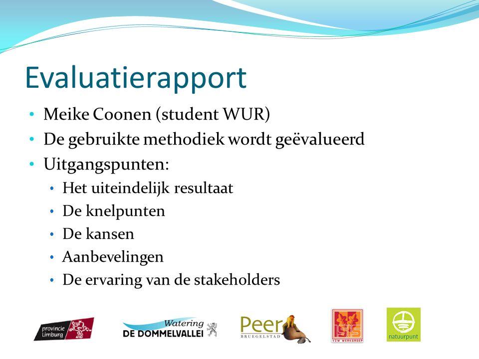 Evaluatierapport Meike Coonen (student WUR) De gebruikte methodiek wordt geëvalueerd Uitgangspunten: Het uiteindelijk resultaat De knelpunten De kansen Aanbevelingen De ervaring van de stakeholders