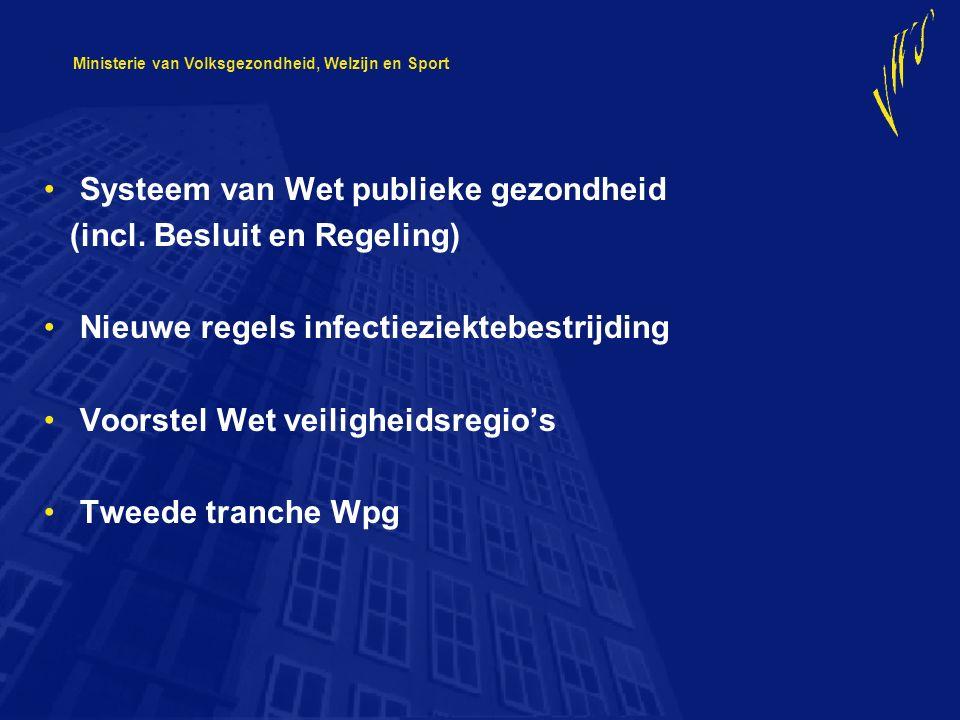 Ministerie van Volksgezondheid, Welzijn en Sport Systeem van Wet publieke gezondheid (incl. Besluit en Regeling) Nieuwe regels infectieziektebestrijdi