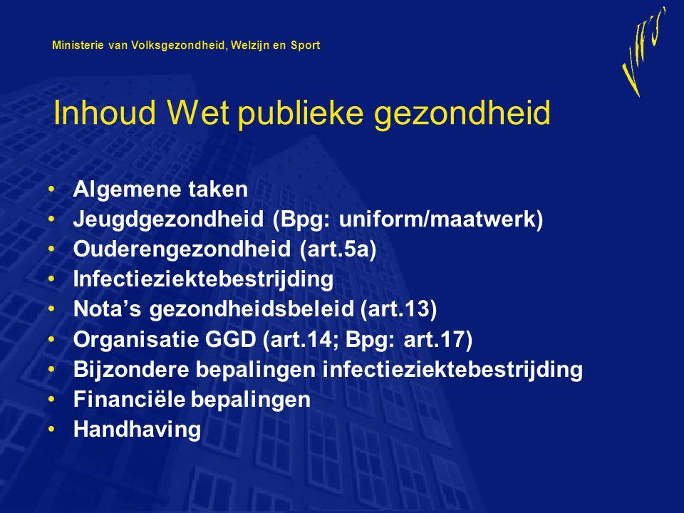 Ministerie van Volksgezondheid, Welzijn en Sport Inhoud Wet publieke gezondheid Algemene taken Jeugdgezondheid (Bpg: uniform/maatwerk) Ouderengezondheid (art.5a) Infectieziektebestrijding Nota's gezondheidsbeleid (art.13) Organisatie GGD (art.14; Bpg: art.17) Bijzondere bepalingen infectieziektebestrijding Financiële bepalingen Handhaving