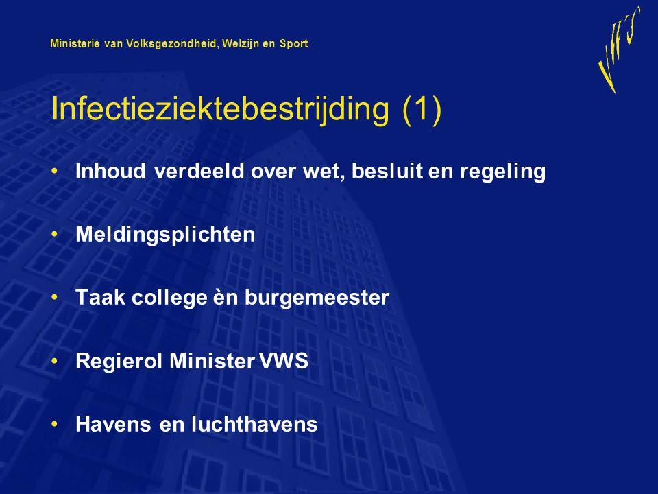 Ministerie van Volksgezondheid, Welzijn en Sport Infectieziektebestrijding (1) Inhoud verdeeld over wet, besluit en regeling Meldingsplichten Taak col