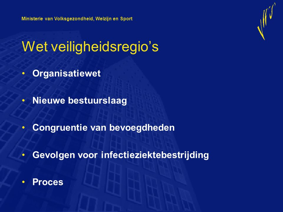 Ministerie van Volksgezondheid, Welzijn en Sport Wet veiligheidsregio's Organisatiewet Nieuwe bestuurslaag Congruentie van bevoegdheden Gevolgen voor infectieziektebestrijding Proces