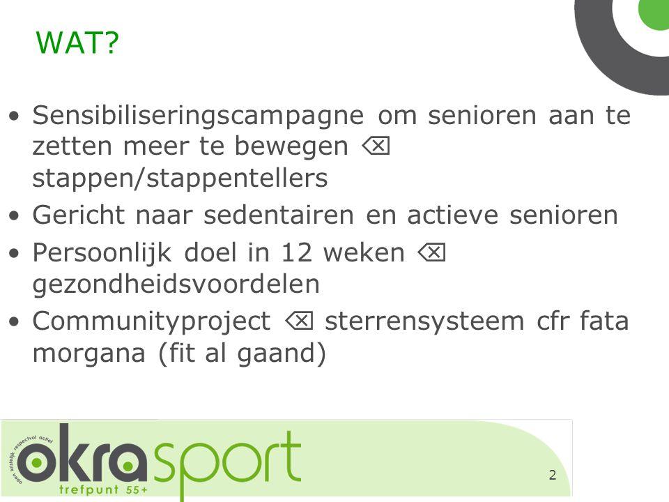 2 WAT? Sensibiliseringscampagne om senioren aan te zetten meer te bewegen  stappen/stappentellers Gericht naar sedentairen en actieve senioren Persoo