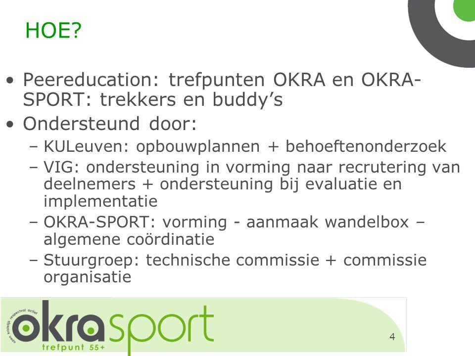 4 HOE? Peereducation: trefpunten OKRA en OKRA- SPORT: trekkers en buddy's Ondersteund door: –KULeuven: opbouwplannen + behoeftenonderzoek –VIG: onders