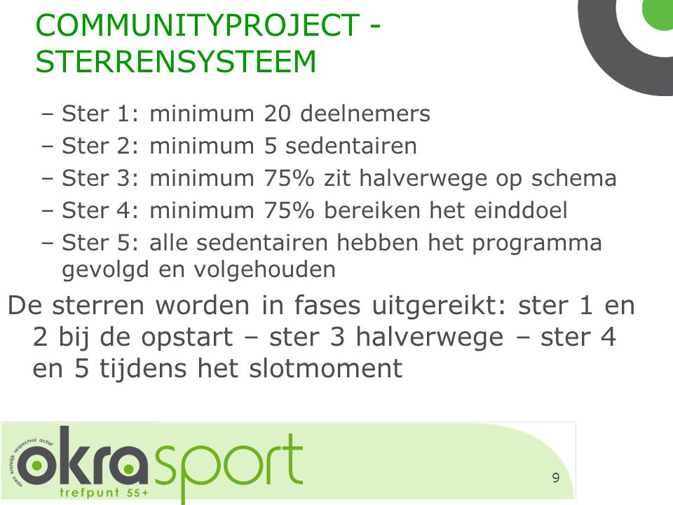 9 COMMUNITYPROJECT - STERRENSYSTEEM –Ster 1: minimum 20 deelnemers –Ster 2: minimum 5 sedentairen –Ster 3: minimum 75% zit halverwege op schema –Ster