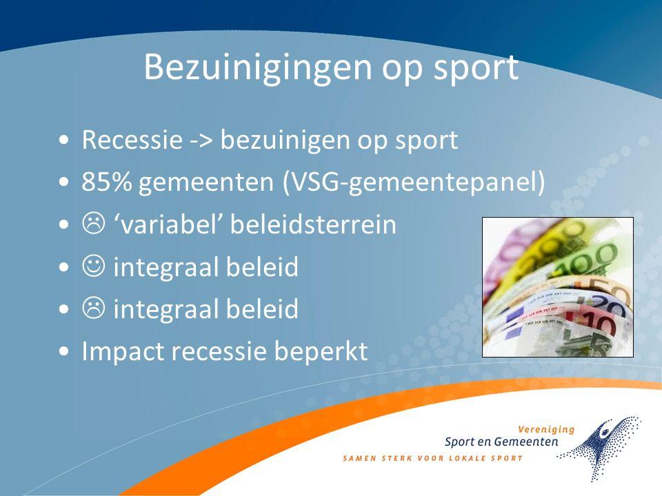 Bezuinigingen op sport Recessie -> bezuinigen op sport 85% gemeenten (VSG-gemeentepanel)  'variabel' beleidsterrein integraal beleid  integraal beleid Impact recessie beperkt