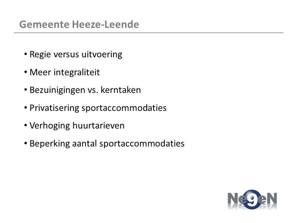 Gemeente Heeze-Leende Regie versus uitvoering Meer integraliteit Bezuinigingen vs.