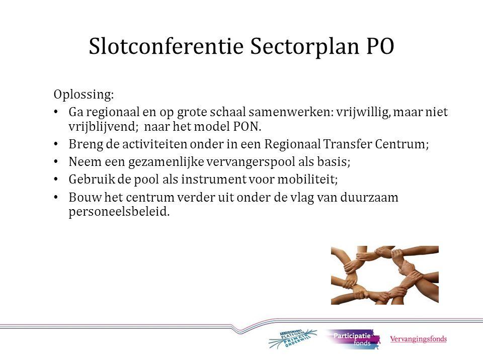Slotconferentie Sectorplan PO Oplossing: Ga regionaal en op grote schaal samenwerken: vrijwillig, maar niet vrijblijvend; naar het model PON.