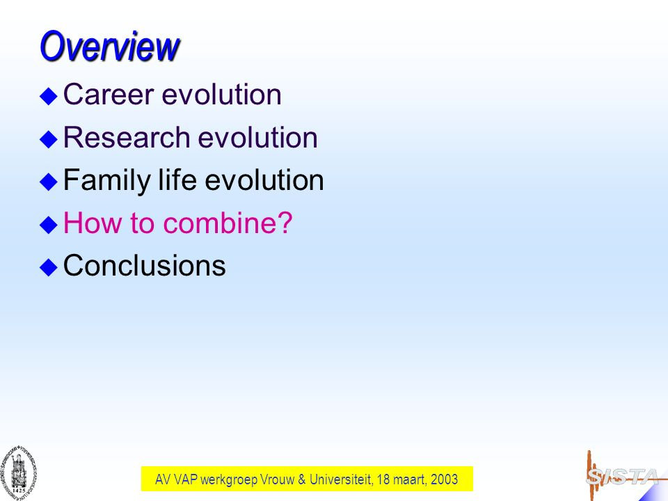 AV VAP werkgroep Vrouw & Universiteit, 18 maart, 2003 Overview u Career evolution u Research evolution u Family life evolution u How to combine? u Con