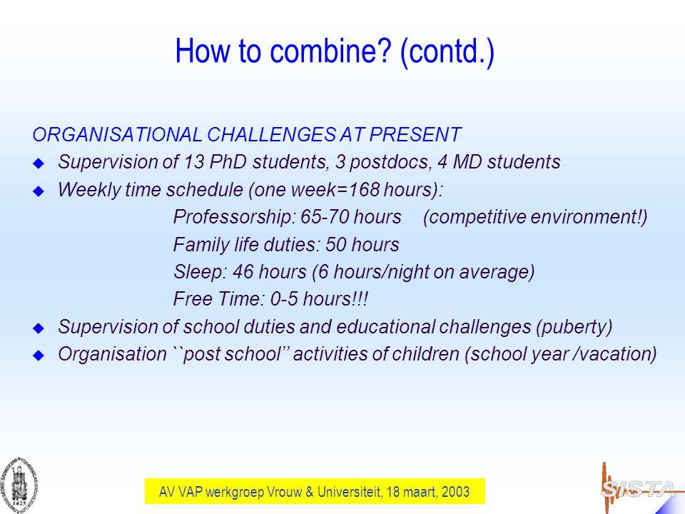 AV VAP werkgroep Vrouw & Universiteit, 18 maart, 2003 How to combine.