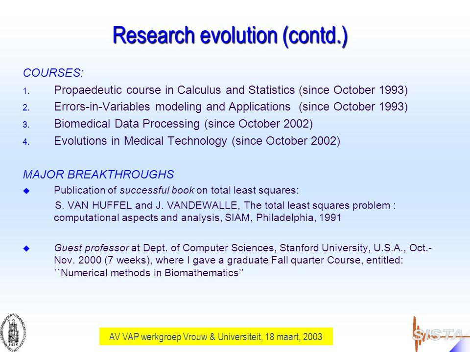 AV VAP werkgroep Vrouw & Universiteit, 18 maart, 2003 Research evolution (contd.) COURSES: 1.