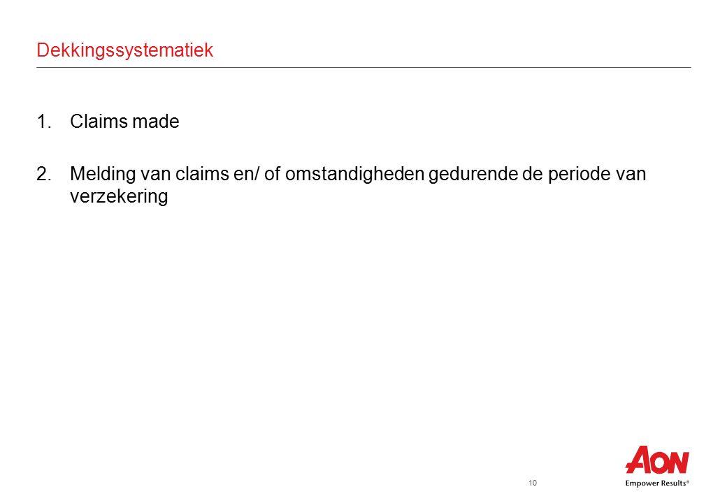 10 Dekkingssystematiek 1.Claims made 2.Melding van claims en/ of omstandigheden gedurende de periode van verzekering
