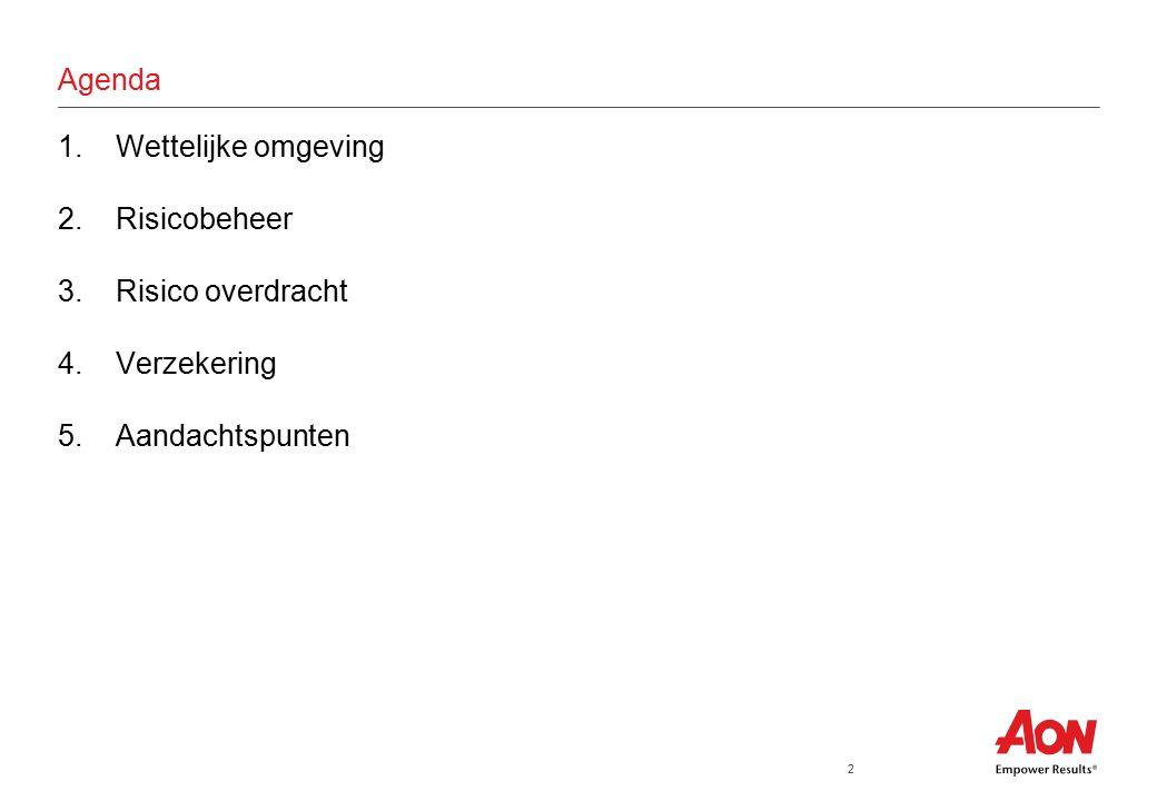 2 Agenda 1.Wettelijke omgeving 2.Risicobeheer 3.Risico overdracht 4.Verzekering 5.Aandachtspunten