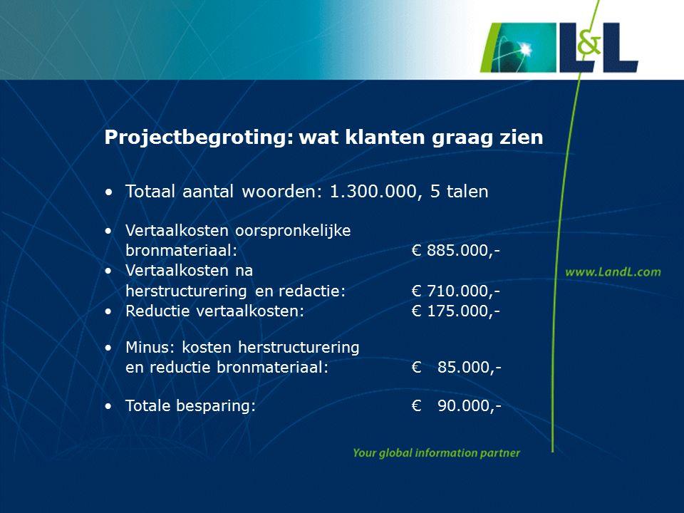 Projectbegroting: wat klanten graag zien Totaal aantal woorden: 1.300.000, 5 talen Vertaalkosten oorspronkelijke bronmateriaal:€ 885.000,- Vertaalkosten na herstructurering en redactie:€ 710.000,- Reductie vertaalkosten: € 175.000,- Minus: kosten herstructurering en reductie bronmateriaal:€ 85.000,- Totale besparing: € 90.000,-