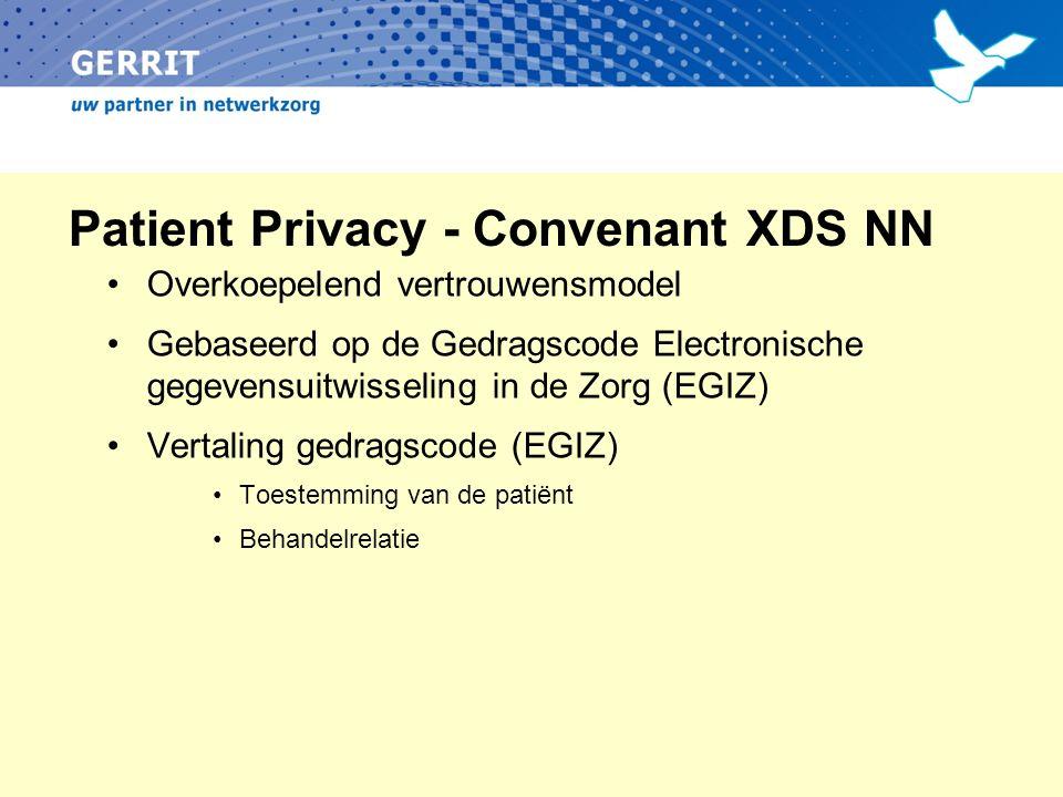 Patient Privacy - Convenant XDS NN Overkoepelend vertrouwensmodel Gebaseerd op de Gedragscode Electronische gegevensuitwisseling in de Zorg (EGIZ) Vertaling gedragscode (EGIZ) Toestemming van de patiënt Behandelrelatie