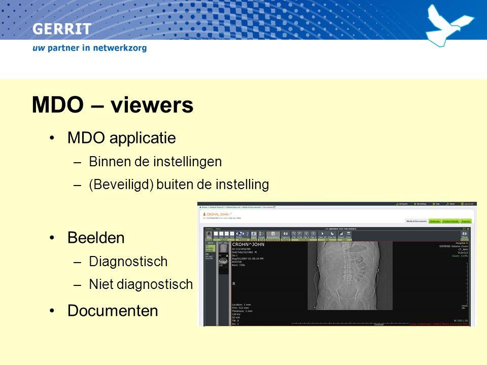 MDO – viewers MDO applicatie –Binnen de instellingen –(Beveiligd) buiten de instelling Beelden –Diagnostisch –Niet diagnostisch Documenten
