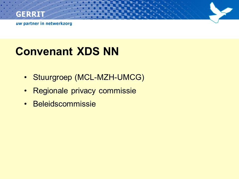 Convenant XDS NN Stuurgroep (MCL-MZH-UMCG) Regionale privacy commissie Beleidscommissie