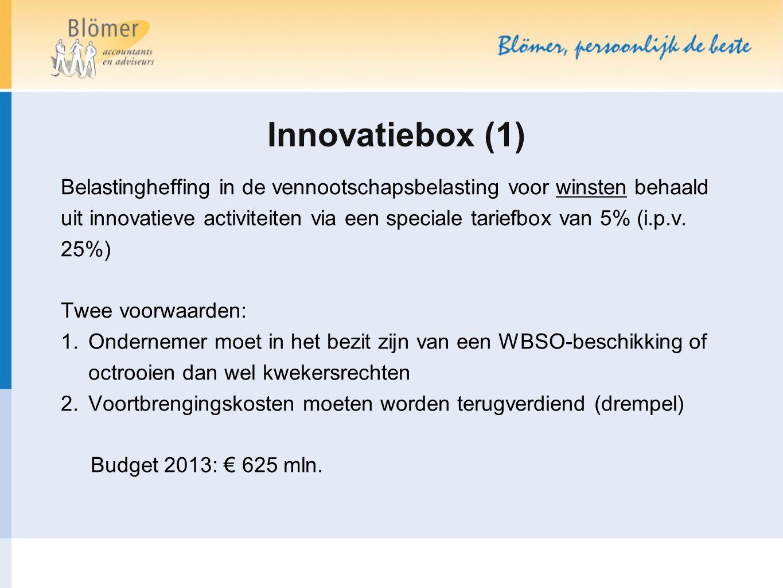 Innovatiebox (1) Belastingheffing in de vennootschapsbelasting voor winsten behaald uit innovatieve activiteiten via een speciale tariefbox van 5% (i.p.v.