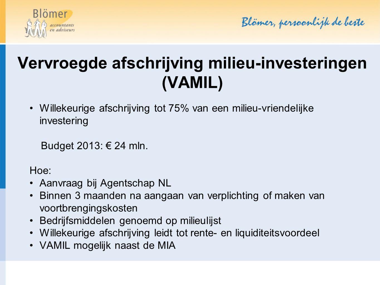 Willekeurige afschrijving tot 75% van een milieu-vriendelijke investering Budget 2013: € 24 mln.
