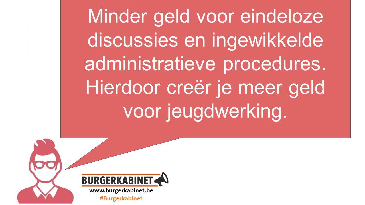 tekst hier Minder geld voor eindeloze discussies en ingewikkelde administratieve procedures.