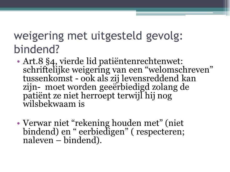 """weigering met uitgesteld gevolg: bindend? Art.8 §4, vierde lid patiëntenrechtenwet: schriftelijke weigering van een """"welomschreven"""" tussenkomst - ook"""