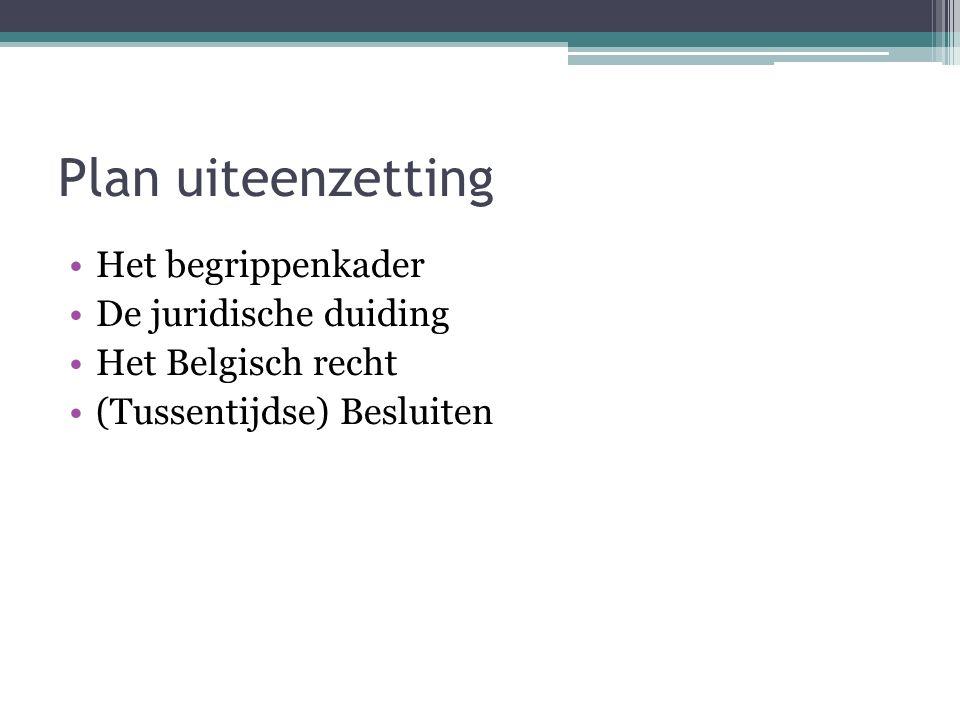 Plan uiteenzetting Het begrippenkader De juridische duiding Het Belgisch recht (Tussentijdse) Besluiten