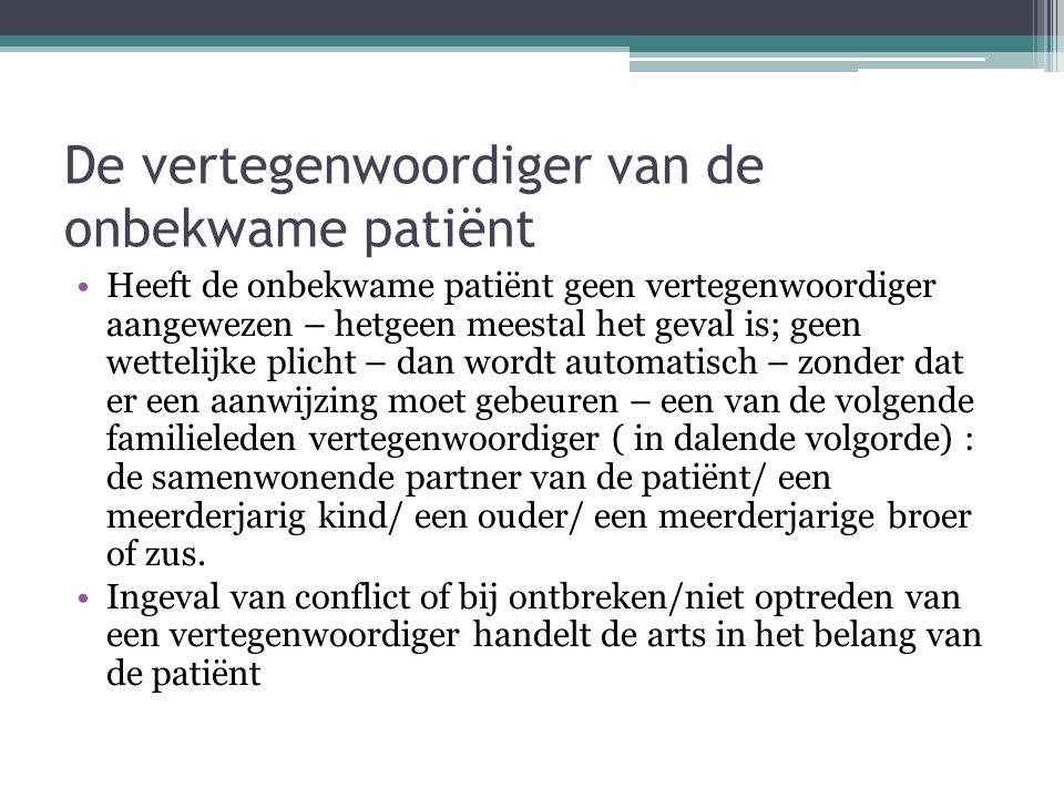 De vertegenwoordiger van de onbekwame patiënt Heeft de onbekwame patiënt geen vertegenwoordiger aangewezen – hetgeen meestal het geval is; geen wettel