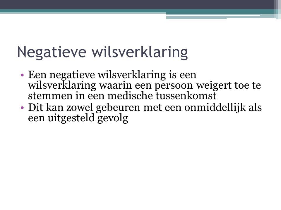 Negatieve wilsverklaring Een negatieve wilsverklaring is een wilsverklaring waarin een persoon weigert toe te stemmen in een medische tussenkomst Dit kan zowel gebeuren met een onmiddellijk als een uitgesteld gevolg