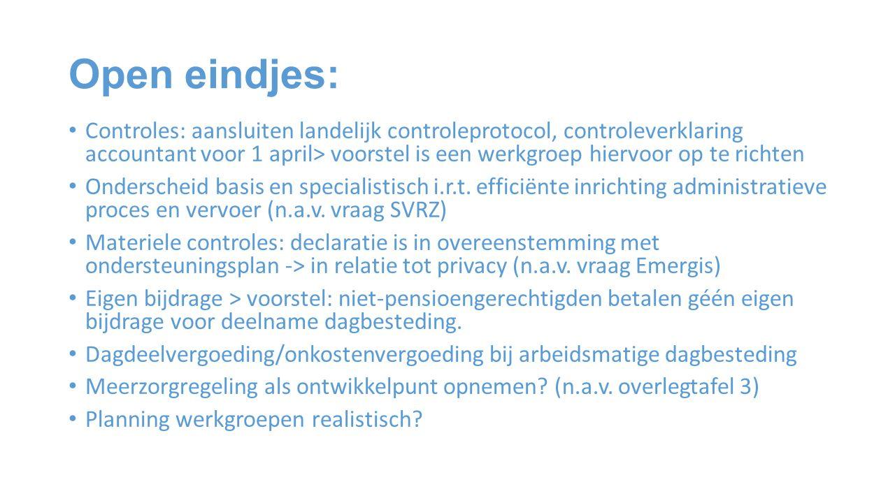 Open eindjes: Controles: aansluiten landelijk controleprotocol, controleverklaring accountant voor 1 april> voorstel is een werkgroep hiervoor op te richten Onderscheid basis en specialistisch i.r.t.