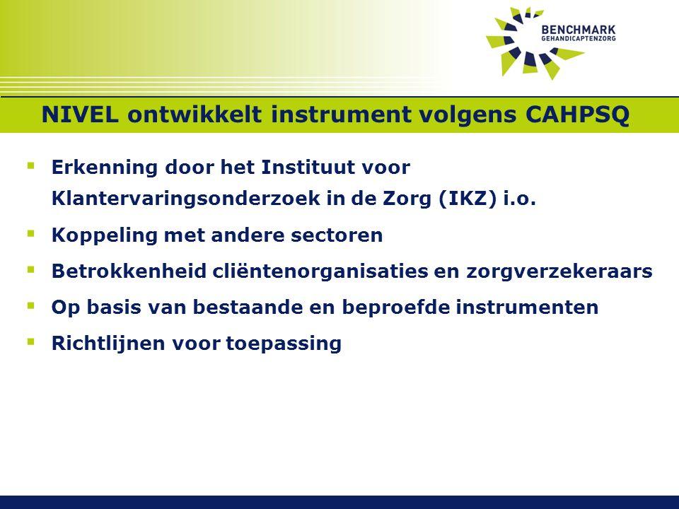 SoortenNIVEL ontwikkelt instrument volgens CAHPSQ  Erkenning door het Instituut voor Klantervaringsonderzoek in de Zorg (IKZ) i.o.