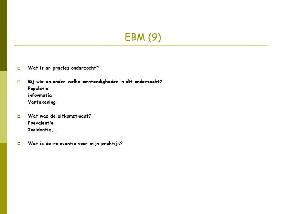 EBM (9)  Wat is er precies onderzocht.  Bij wie en onder welke omstandigheden is dit onderzocht.