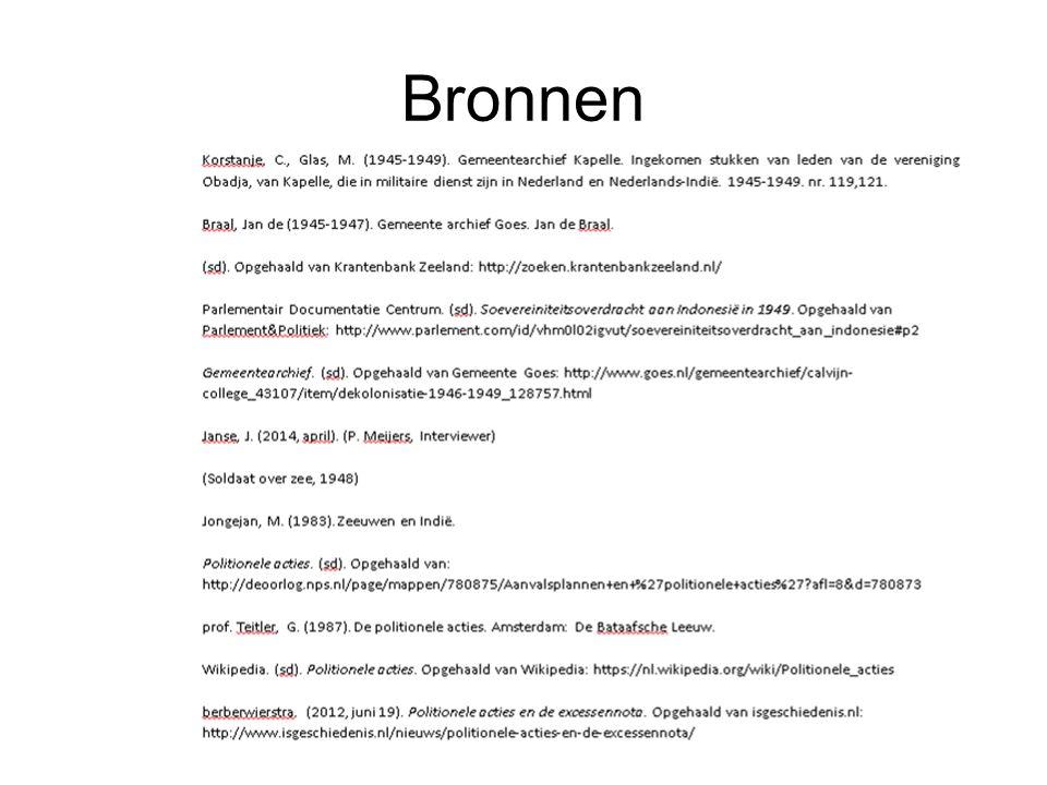 Hoofd- en deelvragen Hoofdvraag: In hoeverre komt het beeld dat de Nederlandse militairen schetsen over de situatie in Nederlands-Indië tussen 1945 en 1950 overeen met het beeld dat in de kranten van die tijd wordt gegeven en met het huidige beeld.