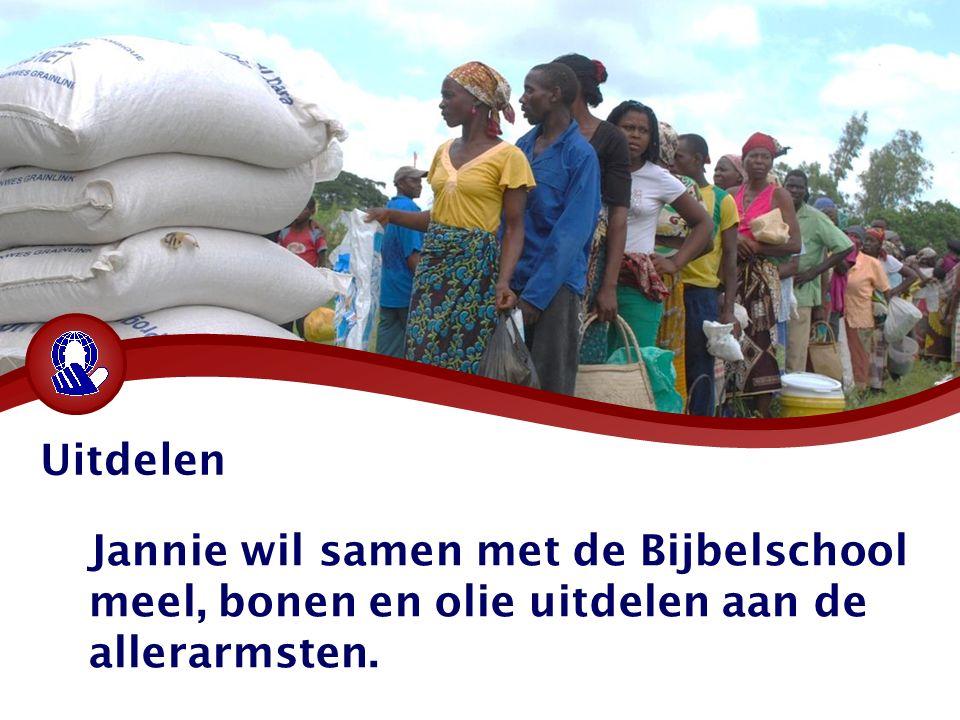 Jannie wil samen met de Bijbelschool meel, bonen en olie uitdelen aan de allerarmsten. Uitdelen