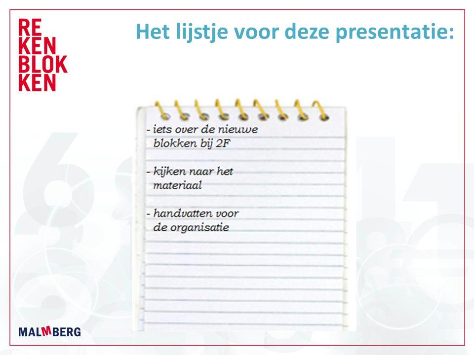 Het lijstje voor deze presentatie: