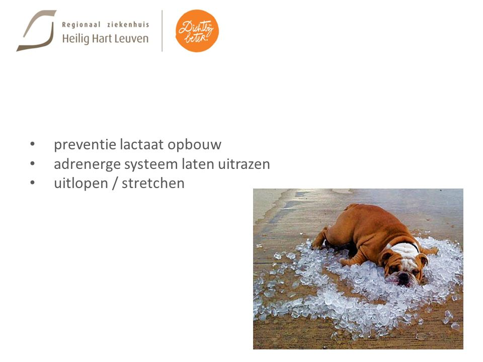 preventie lactaat opbouw adrenerge systeem laten uitrazen uitlopen / stretchen