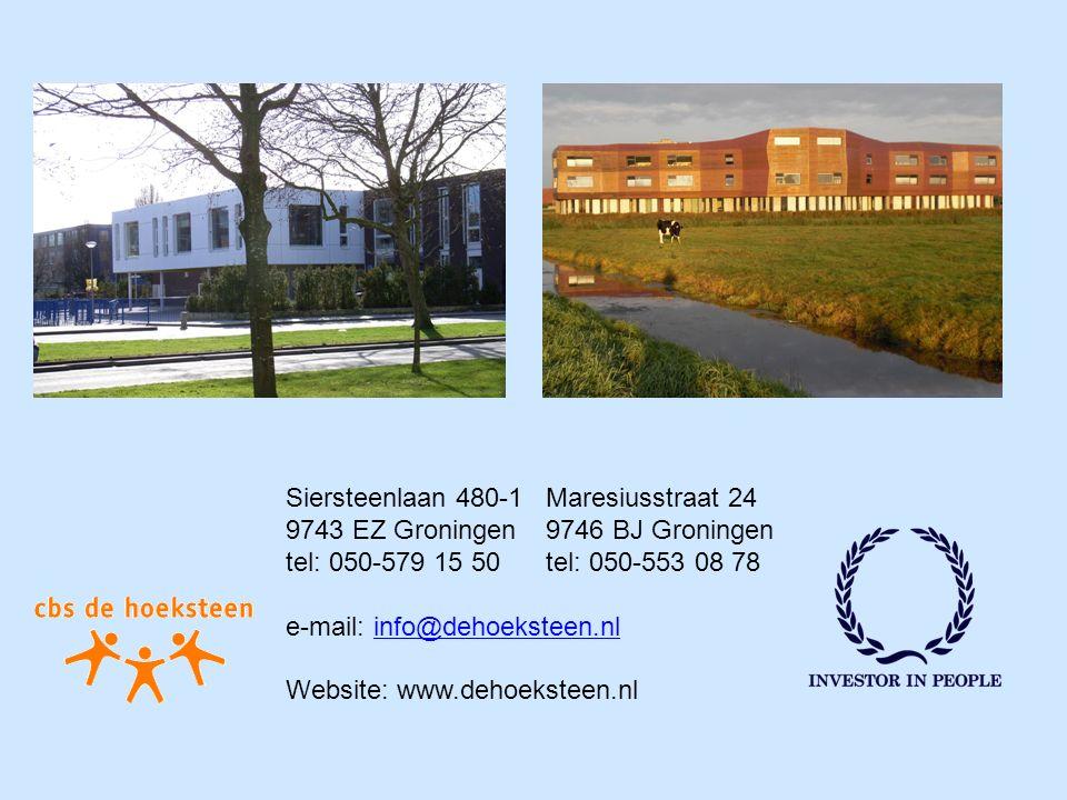 FOTO Siersteenlaan FOTO Maresiusstraat Siersteenlaan 480-1 Maresiusstraat 24 9743 EZ Groningen 9746 BJ Groningen tel: 050-579 15 50 tel: 050-553 08 78 e-mail: info@dehoeksteen.nlinfo@dehoeksteen.nl Website: www.dehoeksteen.nl