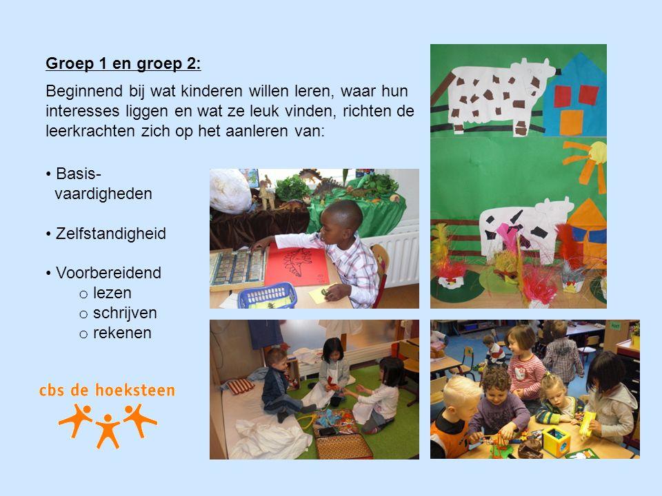 Groep 1 en groep 2: Basis- vaardigheden Zelfstandigheid Voorbereidend o lezen o schrijven o rekenen Beginnend bij wat kinderen willen leren, waar hun