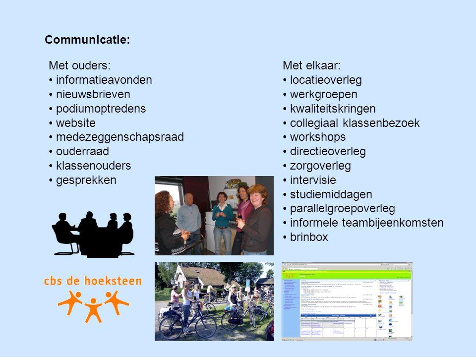 Met elkaar: locatieoverleg werkgroepen kwaliteitskringen collegiaal klassenbezoek workshops directieoverleg zorgoverleg intervisie studiemiddagen para